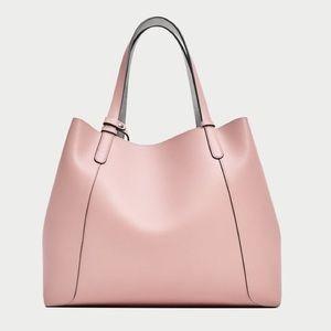 Zara blush and silver reversible tote bag